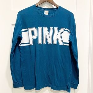 PINK Oversized Long Sleeve Teal T-shirt